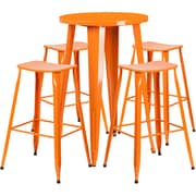 24'' Round Orange Metal Indoor-Outdoor Bar Table Set with 4 Backless Saddle Seat Barstools [CH-51080BH-4-ET30ST-OR-GG]