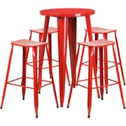 24'' Round Red Metal Indoor-Outdoor Bar Table Set with 4 Backless Saddle Seat Barstools [CH-51080BH-4-ET30ST-RED-GG]