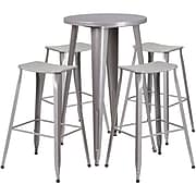 24'' Round Silver Metal Indoor-Outdoor Bar Table Set with 4 Backless Saddle Seat Barstools [CH-51080BH-4-ET30ST-SIL-GG]
