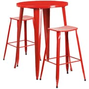 30'' Round Red Metal Indoor-Outdoor Bar Table Set with 2 Backless Saddle Seat Barstools [CH-51090BH-2-ET30ST-RED-GG]