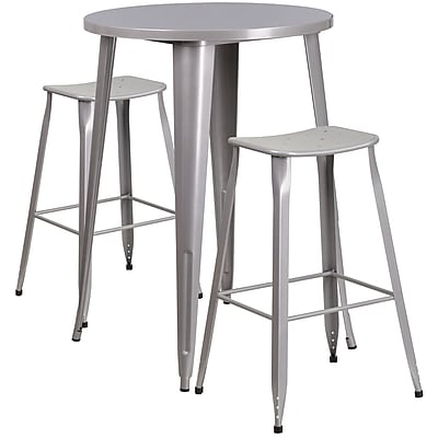 30'' Round Silver Metal Indoor-Outdoor Bar Table Set with 2 Backless Saddle Seat Barstools [CH-51090BH-2-ET30ST-SIL-GG]