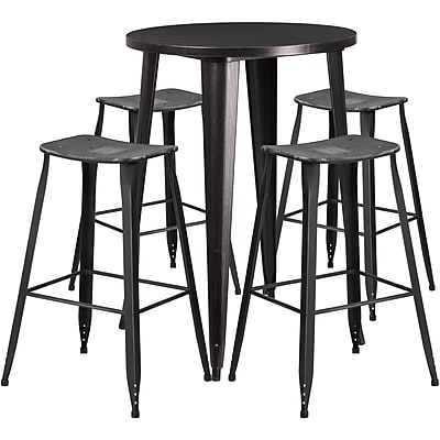 30'' Round Black-Antique Gold Metal Indoor-Outdoor Bar Table Set with 4 Distressed Backless Saddle Seat Barstools