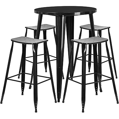 30'' Round Black Metal Indoor-Outdoor Bar Table Set with 4 Backless Saddle Seat Barstools [CH-51090BH-4-ET30ST-BK-GG]