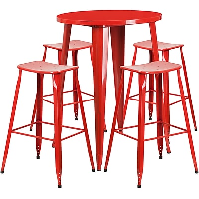 30'' Round Red Metal Indoor-Outdoor Bar Table Set with 4 Backless Saddle Seat Barstools [CH-51090BH-4-ET30ST-RED-GG]