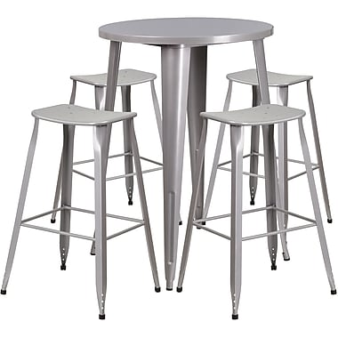 30'' Round Silver Metal Indoor-Outdoor Bar Table Set with 4 Backless Saddle Seat Barstools [CH-51090BH-4-ET30ST-SIL-GG]