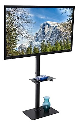 Mount It Freestanding Tv Stand With Glass Shelf Flat Screen