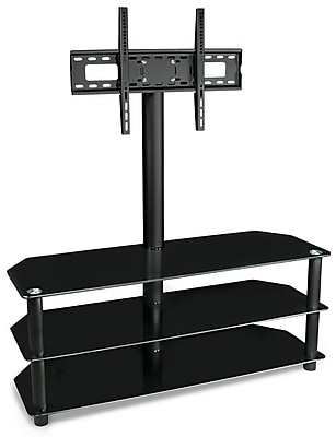 Mount-It! - TV Center Stand - With Mount and Glass Shelves for Audio Video - Black (Mi-863)