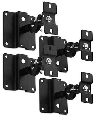Mount-It! Quad Low Profile Heavy Duty Satellite Speaker Ceiling and Wall Mount Brackets (Mi-SB03x2)