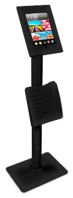 Mount-It! Metal Tablet Floor Stand with Locking Enclosure and Flyer Holder for iPad 2, 3, iPad Air, iPad Air 2, BLACK (MI-3770B)