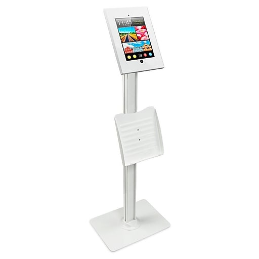 Mount-It! Metal Tablet Floor Stand with Locking Enclosure and Flyer Holder for iPad 2, 3, iPad Air, iPad Air 2, WHITE (MI-3770W)
