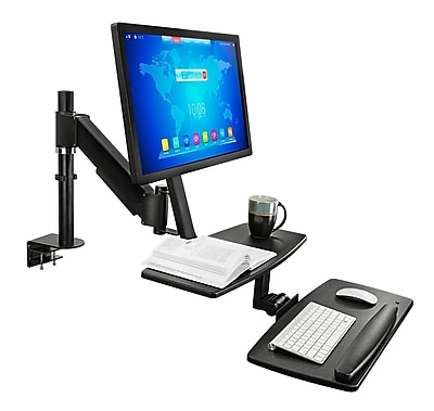 Mount-It! Sit Stand Standing Desk Converter, Articulating Stand-Up Workstation with Monitor Mount, Height Adjustable (MI-7901)