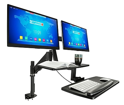 Mount-It! Sit Stand Standing Desk Converter, Articulating Stand-Up Workstation with Monitor Mount, Height Adjustable (MI-7902)
