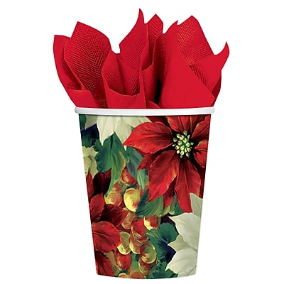 Amscan Regal Poinsettia Paper Cup, 9oz, 5/Pack, 8 Per Pack (589256) 2580189
