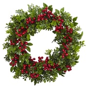 "Nearly Natural 24"" Berry Boxwood Wreath (4555)"