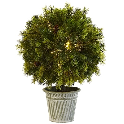 """Nearly Natural 18"""" Pine Ball in Iron Top (4558)"""