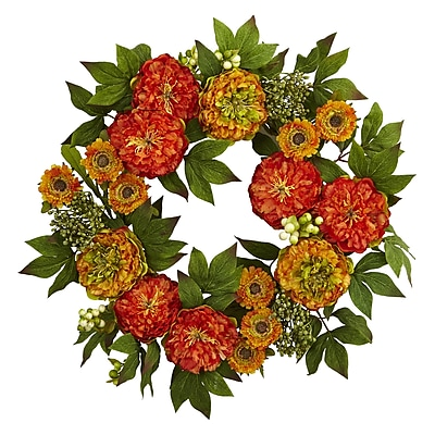 """Nearly Natural 24"""" Peony and Mum Wreath (4580)"""