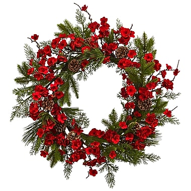 """Nearly Natural 24"""" Plum Blossom Pine Wreath (4551)"""