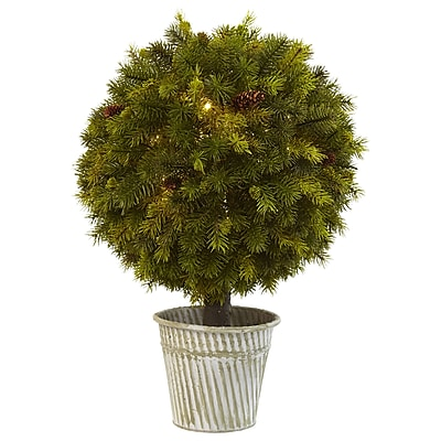 """Nearly Natural 23"""" Pine Ball in Iron Top (4559)"""