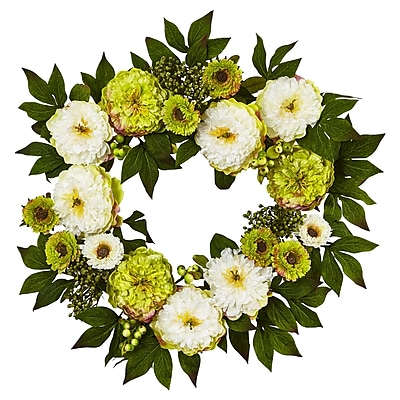 "Nearly Natural 24"" Peony Mum Wreath (4579)"