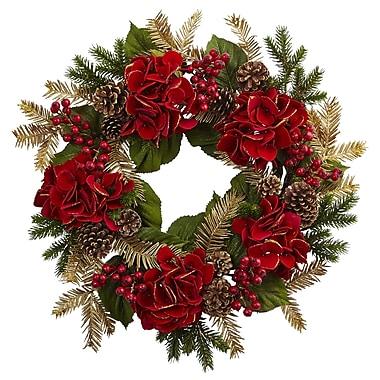 "Nearly Natural 24"" Hydrangea Pine Wreath (4552)"