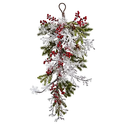 """Nearly Natural 26"""" Berry, Pine & Snowflake Teardrop (4550) 2599066"""