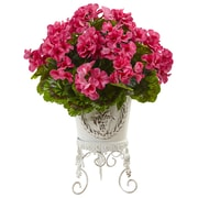 Nearly Natural Geranium with Metal Planter UV Resistant - Indoor/Outdoor (6885-BU)