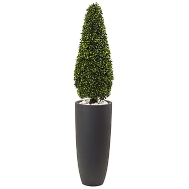 "Nearly Natural 50"" Boxwood Topiary with Gray Cylindrical Planter UV Resistant -Indoor/Outdoor (5961)"