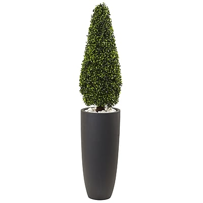 """Nearly Natural 50"""" Boxwood Topiary with Gray Cylindrical Planter UV Resistant -Indoor/Outdoor (5961)"""