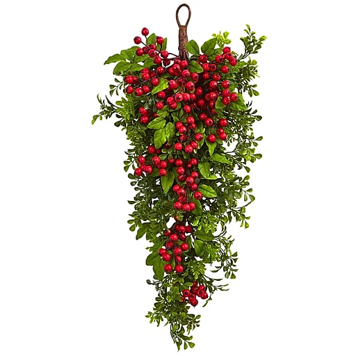 """Nearly Natural 26"""" Berry Boxwood Teardrop (4562)"""