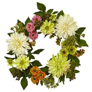 """Nearly Natural 22"""" Dahlia Mum Wreath (4583)"""