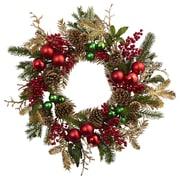 "Nearly Natural 24"" Ornament, Pine & Pine cone  Wreath (4556)"