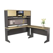 "Ameriwood Home Pursuit 46""W L-Shaped Desk with Hutch Bundle, Natural (9849096)"