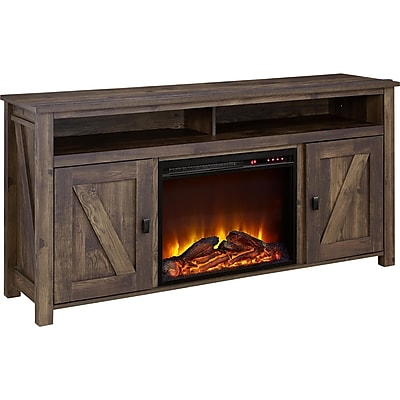 """Ameriwood Home Farmington Electric Fireplace TV Console, Rustic, For TVs up to 60"""" (1795096COM)"""