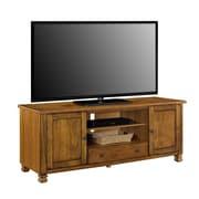 "Ameriwood Home San Antonio Wood Veneer TV Stand, Medium Brown, For TVs up to 60"" (1772096COM)"