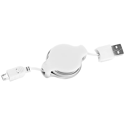 SumacLife White Retractable USB Micro USB Sync and Charge Cable