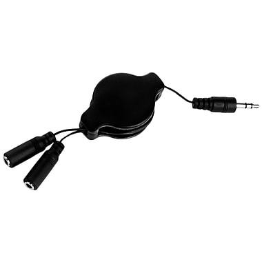 SumacLife Black Retractable 3.2 FT Headphone Splitter 3.5mm Male to 2 3.5 mm Female Cable