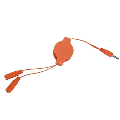 SumacLife Orange Retractable 3.2 FT Headphone Splitter 3.5mm Male to 2 3.5 mm Female Cable