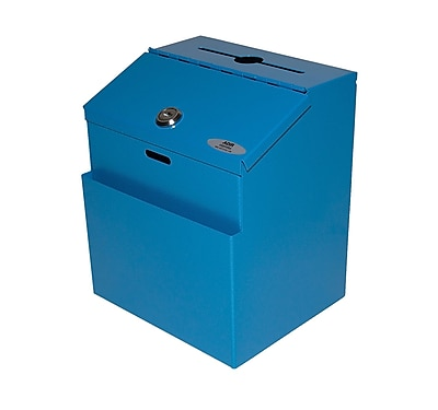 AdirOffice Blue Wall Mountable Steel Suggestion Box