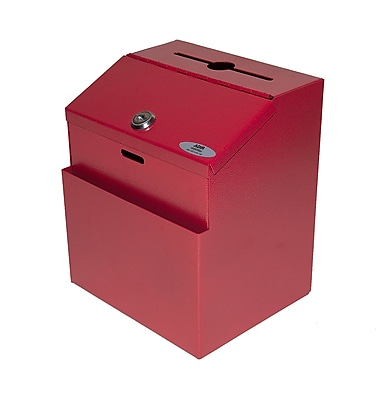 AdirOffice Red Wall Mountable Steel Suggestion Box
