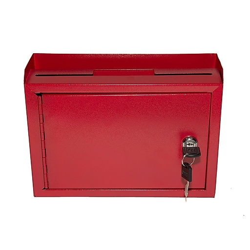 "AdirOffice Red Wall Mountable Suggestion Drop Box 9.75"" W x 7"" H x 3"" D"