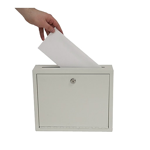 "Adiroffice Gray Multi Purpose Large Size Suggestion Drop Box 12"" W X 3"" D X 10"" H"