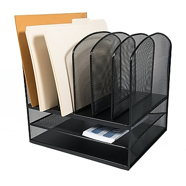 Adir Office Black Mesh Desk Organizer with Two Horizontal and Six Upright Sections (634MA)