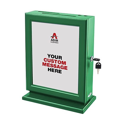 Adir Customizable Wood Suggestion Box, Green (632-GRN)