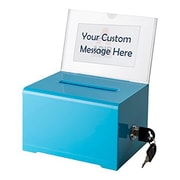 Adir Office Blue Acrylic Donation & Ballot Box w lock