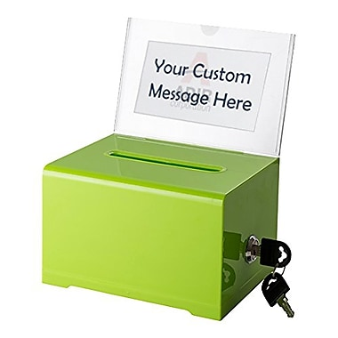 Adir Office Green Acrylic Donation & Ballot Box with Lock (637-GRN)