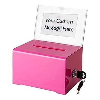 Acrylic Donation & Ballot Box with Lock (637-PNK)