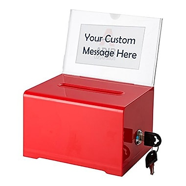 Adir Office Red Acrylic Donation & Ballot Box with Lock (637-RED)
