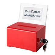 Adir Office Red Acrylic Donation & Ballot Box w lock