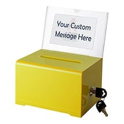 Adir Office Yellow Acrylic Donation & Ballot Box w lock