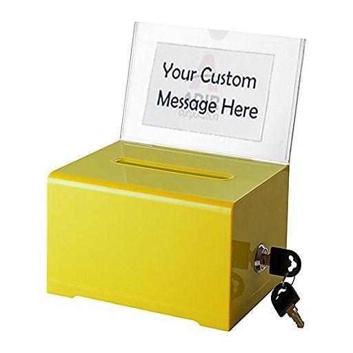 Adir Office Yellow Acrylic Donation & Ballot Box w lock